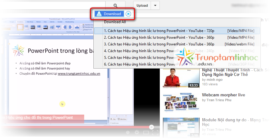 Nút download video Youtube của EagleGet
