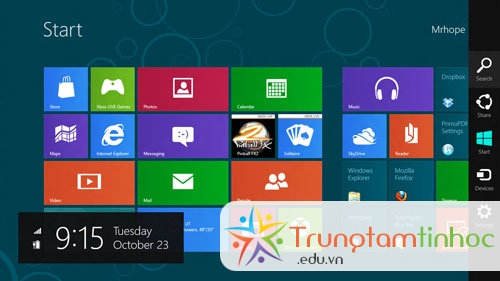 Charms trong Windows 8