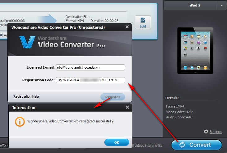 Wondershare Video Converter Pro registered successfully