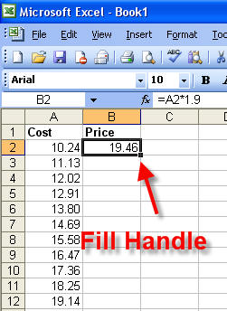 Fill Handle trong Excel